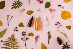 Top view of face serum bottles with pipette on pink. Dried multicolored flowers and leaves around bottles. Autumn concept.