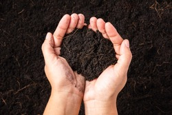 Top view of farmer woman hand holding compost fertile black soil background and copy space, Concept of Agriculture, gardening, Save World, Earth day and Hands ecology environment