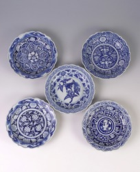 top view of five antique bowls