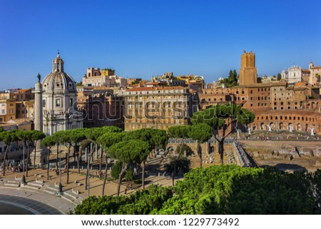 Top view of Forum of Caesar (Foro di Cesare), also known as Forum Iulium. Forum of Caesar built by Julius Caesar near Forum Romanum in Rome in 46 BC. Rome. Italy.