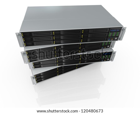 top view of four server racks with nine hd slots, powered on (3d render) - stock photo