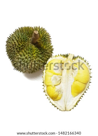 Top view of fresh durian fruit isolated on white background, Tropical fruit, copy space (Malvaceae, Durio, Bombacaceae, Phuang Mani), Vertical