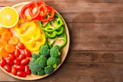 Top view of fresh organic fruits and vegetables in plate wood (carrot, Broccoli, tomato, orange, Bell pepper) on wooden table, Healthy lifestyle diet food concept
