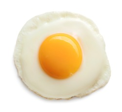 top view of fried egg isolated on white background