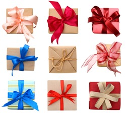 Top view of Gift boxes isolated white