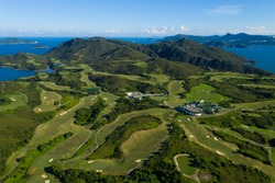 Top view of golf court in Hong Kong