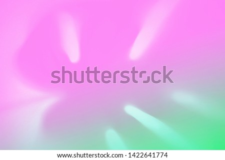 Top view of green tropical monstera leaf shadow in trendy duotone neon background. Flat lay. Minimal summer concept with palm tree leaf. Abstract creative backdrop, modern design. Copy space. Blurred.
