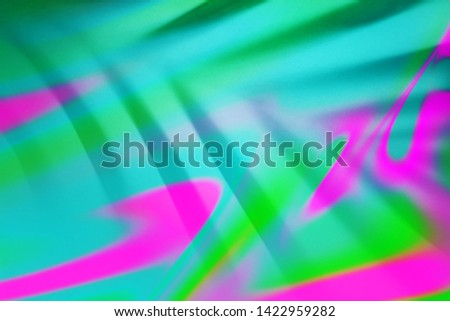 Top view of green tropical palm leaf shadow in trendy duotone neon colorful fluid background. Flat lay. Minimal digital art summer concept. Abstract creative backdrop for modern design. Blurred.
