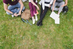 Top view of group students sitting together at park. University students doing group study.