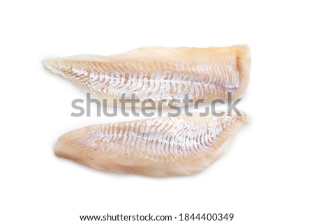 Top view of haddock fillet isolated on white background ストックフォト ©