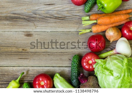 Top view of healthy food background with copy space. Healthy food concept with fresh vegetables and ingredients for cooking. #1138498796