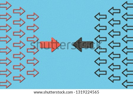 top view of horizontal opposite red and black pointers on blue background #1319224565