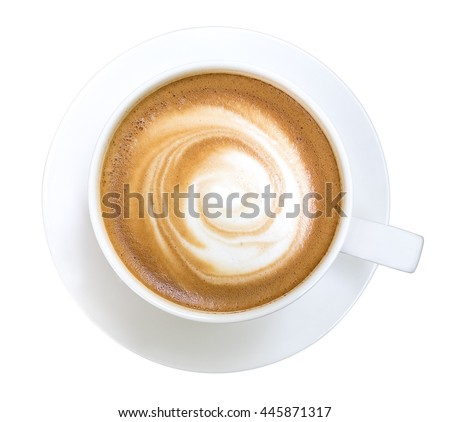 Top view of hot coffee cappuccino cup isolated on white background #445871317