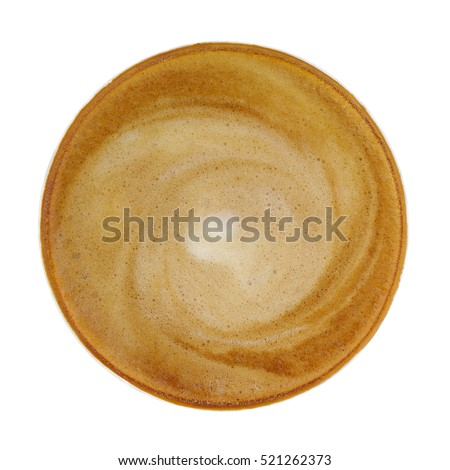 Top view of hot coffee cappucino cup isolated on white background, clipping path included.