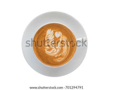 Top view of hot coffee latte art foam isolated on white background, clipping path include. #701294791
