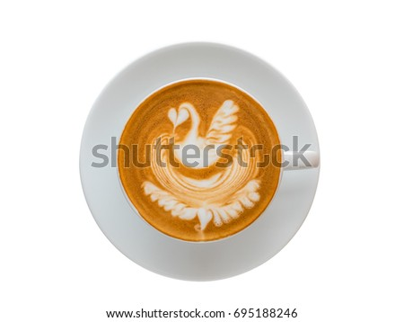 Top view of hot coffee latte art foam isolated on white background, clipping path included.  #695188246