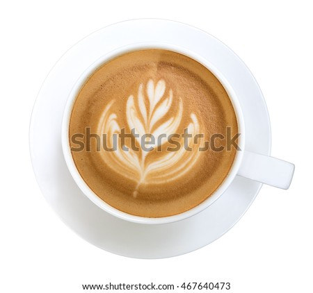 Top view of hot coffee latte art isolated on white background