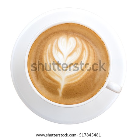 Top view of hot coffee latte art isolated on white background #517845481