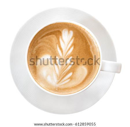 Top view of hot coffee latte art isolated on white background, clipping path included #612859055