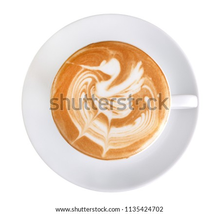 Top view of hot coffee latte art swan shape foam isolated on white background, clipping path included #1135424702
