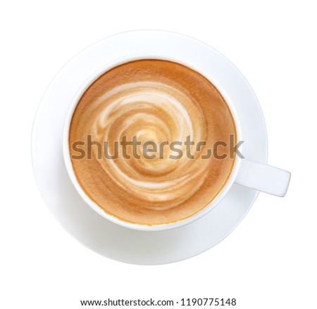 Top view of hot coffee latte cappuccino spiral foam isolated on white background, clipping path included #1190775148