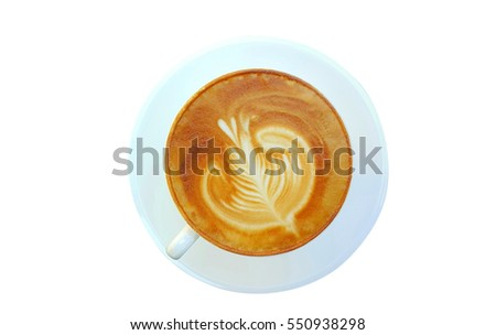 Top view of hot coffee latte cup isolated on white background #550938298