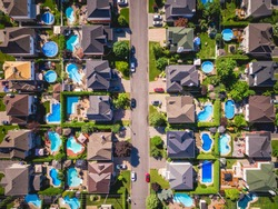 Top view of houses in typical residential neighbourhood in Montreal, Quebec, Canada.