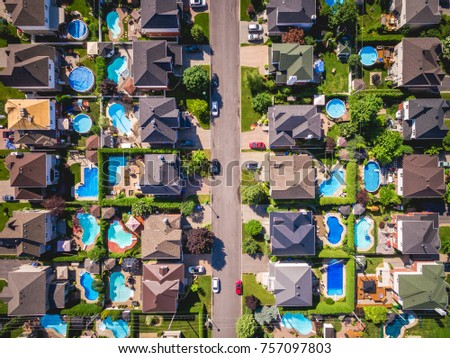 Top view of houses in typical residential neighbourhood in Montreal, Quebec, Canada. #757097803