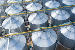Top view of huge metal storage tanks