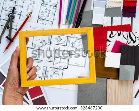 Top view of Interior designer& architect working as home decoration and renovation concept - Shutterstock ID 328467200