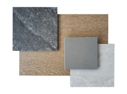 top view of interior material board contains black marble tile ,travertine bone tile ,grainy grey synthesis stone and wooden tile samples isolated on white background with clipping path.