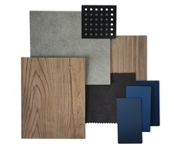 top view of interior material contains wooden and concrete vinyl floor, blue laminate samples, fabric and perforated metal. interior materials isolated on white backgroud (focus on wooden texture).