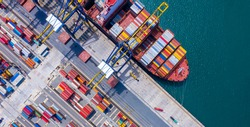 Top view of International Container  ship loading and unloading at sea port, Freight Transportation, Shipping, Nautical Vessel. Logistics, import export, oversea Transportation.