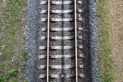 top view of iron rails and sleepers for train traffic