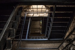 top view of iron vintage old staircase in a old castle