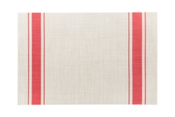 Top view of isolated red striped placemat for food. Empty space for your design.
