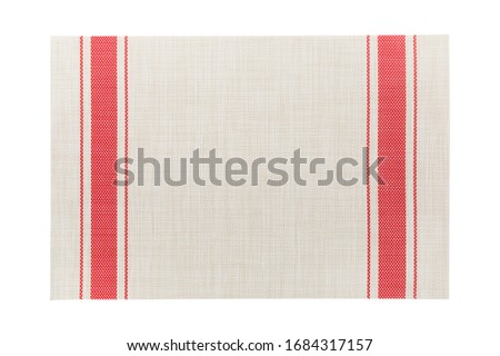 Top view of isolated red striped placemat for food. Empty space for your design. Stock photo ©