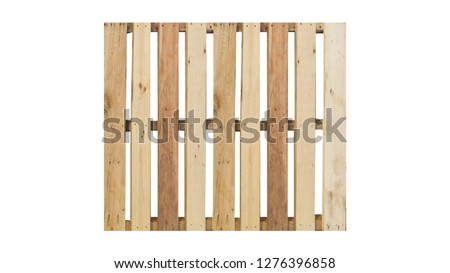 top view of isolated wood pallet on the white background
