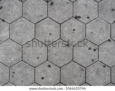 Top view of Japan footpath titles - Gray Hexagon tiles pattern. #1066620746
