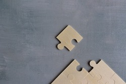Top view of jigsaw puzzle with missing piece. Completing last task, find solution to solve problem and business solution concept