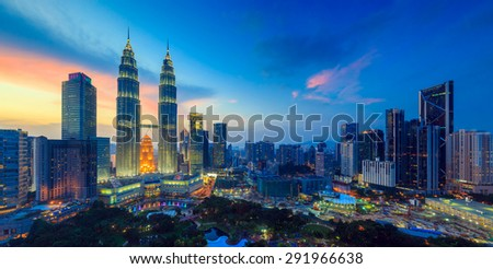 Top view of Kuala Lumper skyline at twilight Foto stock ©
