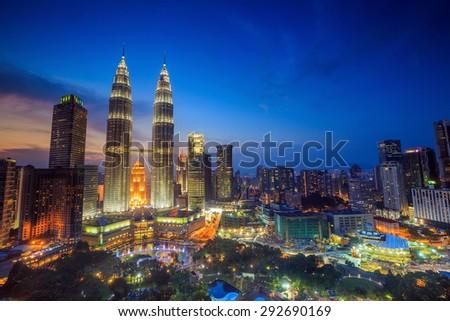 Top view of Kuala Lumper skyline at twilight