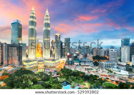 Stock Photo Top view of Kuala Lumper skyline at twilight