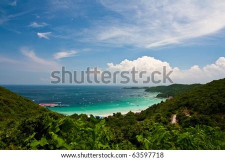 Top view of Lan island,Pattaya city,Thailand