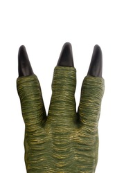 top view of large green toy monster paw with big black claws and three fingers isolated on white background