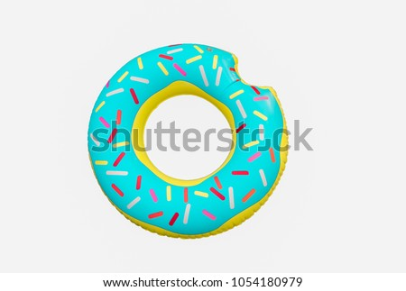 Top view of life ring donut isolated on white background ,this image for summer concept. ストックフォト ©