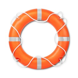 Top view of lifebuoy, isolated on a white background with light shadow. Clipping path included.