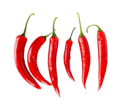 Top view of line composition chilli red peppers isolated on white background