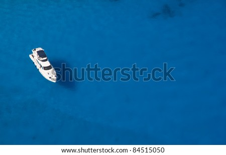 Top view of luxury yacht