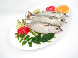 top view of mackerel Fish dish cooking with various ingredients. Fresh raw fish decorated with lemon slices and tomato slice and curry leaves on a white plate,white background.